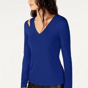 INC Top L/S Bright Blue V Neck Cutout  L/S NWT S